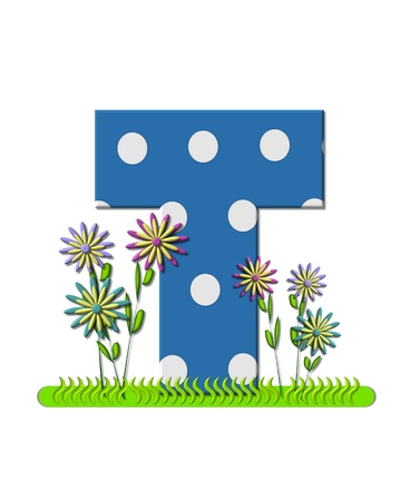 english letters: The letter T, in the alphabet set wildflower Meadow, is blue with white polka dots.  Letters base is decorated with wavey grass and 3D flowers.