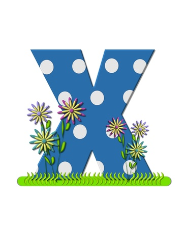 The letter X, in the alphabet set wildflower Meadow, is blue with white polka dots.  Letters base is decorated with wavey grass and 3D flowers. photo