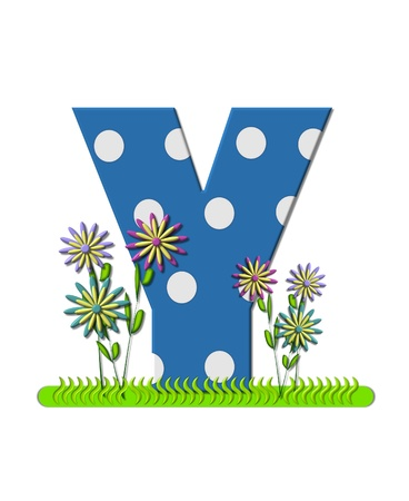 The letter Y, in the alphabet set wildflower Meadow, is blue with white polka dots.  Letters base is decorated with wavey grass and 3D flowers.
