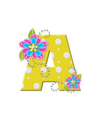 The letter A, in the alphabet set Bonny Blooms, is yellow with polka dots.  Bright pink and blue flowers decorate letter.  White beads form curling tendrils.