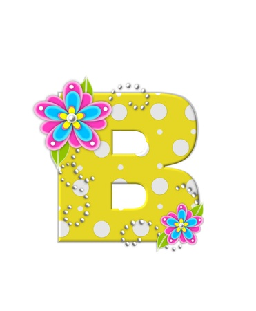 The letter B, in the alphabet set Bonny Blooms, is yellow with polka dots.  Bright pink and blue flowers decorate letter.  White beads form curling tendrils. photo