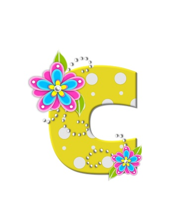 bonny: The letter C, in the alphabet set Bonny Blooms, is yellow with polka dots.  Bright pink and blue flowers decorate letter.  White beads form curling tendrils. Stock Photo