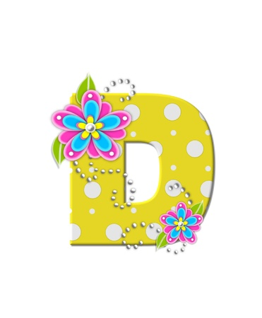 The letter D, in the alphabet set Bonny Blooms, is yellow with polka dots.  Bright pink and blue flowers decorate letter.  White beads form curling tendrils. Stock Photo