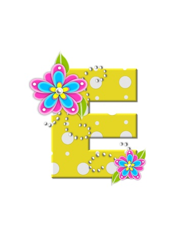 The letter E, in the alphabet set Bonny Blooms, is yellow with polka dots.  Bright pink and blue flowers decorate letter.  White beads form curling tendrils.