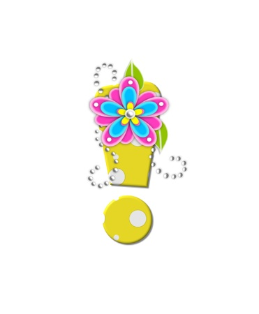 Exclamation point, in the alphabet set Bonny Blooms, is yellow with polka dots.  Bright pink and blue flowers decorate letter.  White beads form curling tendrils. photo