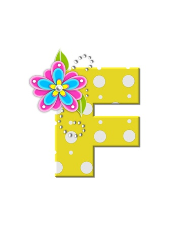 bonny: The letter F, in the alphabet set Bonny Blooms, is yellow with polka dots.  Bright pink and blue flowers decorate letter.  White beads form curling tendrils.