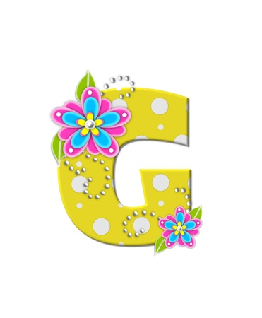 The letter G, in the alphabet set Bonny Blooms, is yellow with polka dots.  Bright pink and blue flowers decorate letter.  White beads form curling tendrils. photo