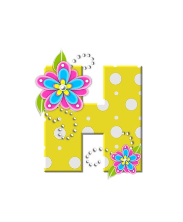 english letters: The letter H, in the alphabet set Bonny Blooms, is yellow with polka dots.  Bright pink and blue flowers decorate letter.  White beads form curling tendrils. Stock Photo