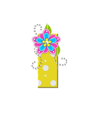 The letter I, in the alphabet set Bonny Blooms, is yellow with polka dots.  Bright pink and blue flowers decorate letter.  White beads form curling tendrils.