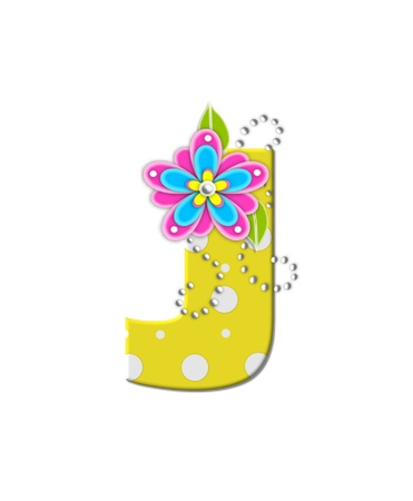 bonny: The letter J, in the alphabet set Bonny Blooms, is yellow with polka dots.  Bright pink and blue flowers decorate letter.  White beads form curling tendrils.