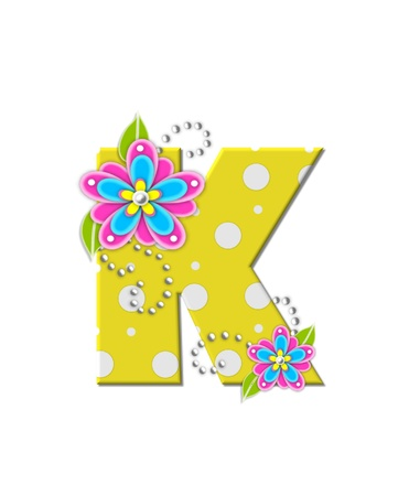The letter K, in the alphabet set Bonny Blooms, is yellow with polka dots.  Bright pink and blue flowers decorate letter.  White beads form curling tendrils. Stock Photo