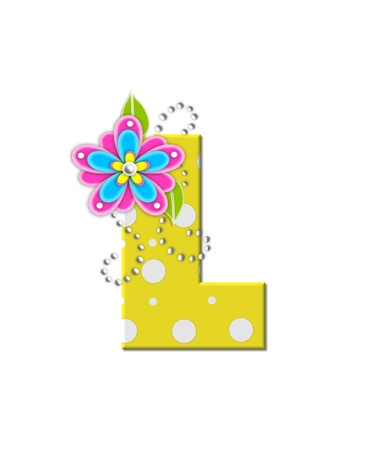 The letter L, in the alphabet set Bonny Blooms, is yellow with polka dots.  Bright pink and blue flowers decorate letter.  White beads form curling tendrils. photo
