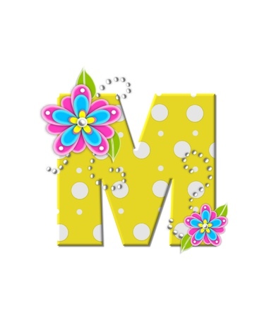 bonny: The letter M, in the alphabet set Bonny Blooms, is yellow with polka dots.  Bright pink and blue flowers decorate letter.  White beads form curling tendrils.