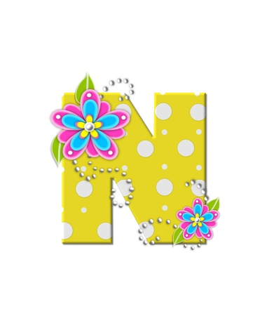 The letter N, in the alphabet set Bonny Blooms, is yellow with polka dots.  Bright pink and blue flowers decorate letter.  White beads form curling tendrils.