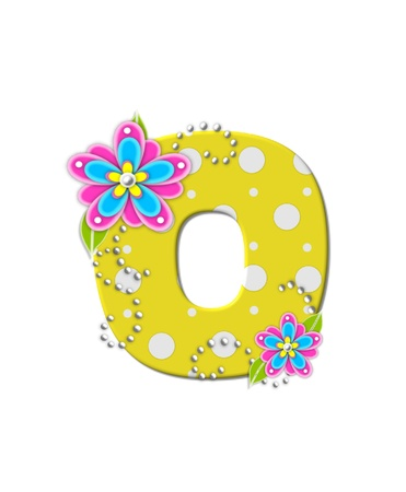 The letter O, in the alphabet set Bonny Blooms, is yellow with polka dots.  Bright pink and blue flowers decorate letter.  White beads form curling tendrils. photo