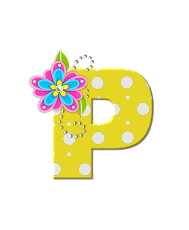The letter P, in the alphabet set Bonny Blooms, is yellow with polka dots.  Bright pink and blue flowers decorate letter.  White beads form curling tendrils. photo