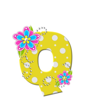 The letter Q, in the alphabet set Bonny Blooms, is yellow with polka dots.  Bright pink and blue flowers decorate letter.  White beads form curling tendrils. photo