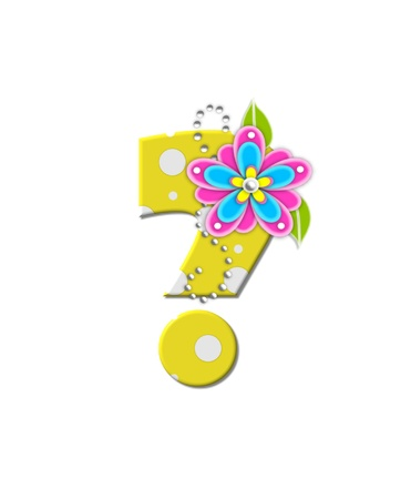 bonny: Question mark , in the alphabet set Bonny Blooms, is yellow with polka dots.  Bright pink and blue flowers decorate letter.  White beads form curling tendrils.