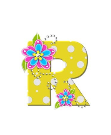 The letter R, in the alphabet set Bonny Blooms, is yellow with polka dots.  Bright pink and blue flowers decorate letter.  White beads form curling tendrils.