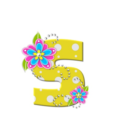 The letter S, in the alphabet set Bonny Blooms, is yellow with polka dots.  Bright pink and blue flowers decorate letter.  White beads form curling tendrils.