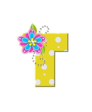 The letter T, in the alphabet set Bonny Blooms, is yellow with polka dots.  Bright pink and blue flowers decorate letter.  White beads form curling tendrils. Stock Photo