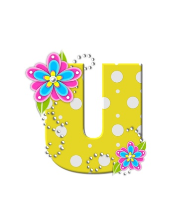 bonny: The letter U, in the alphabet set Bonny Blooms, is yellow with polka dots.  Bright pink and blue flowers decorate letter.  White beads form curling tendrils. Stock Photo