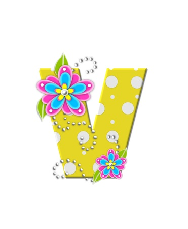 english letters: The letter V, in the alphabet set Bonny Blooms, is yellow with polka dots.  Bright pink and blue flowers decorate letter.  White beads form curling tendrils.