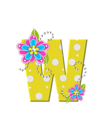 english letters: The letter W, in the alphabet set Bonny Blooms, is yellow with polka dots.  Bright pink and blue flowers decorate letter.  White beads form curling tendrils.
