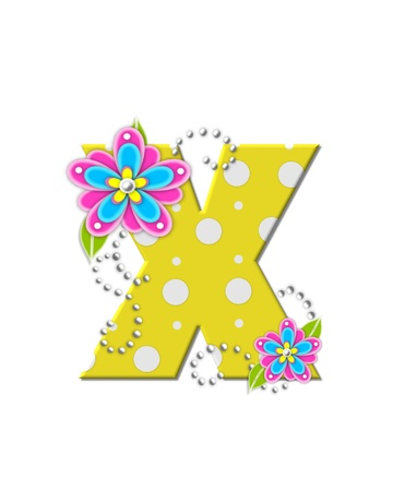 The letter X, in the alphabet set Bonny Blooms, is yellow with polka dots.  Bright pink and blue flowers decorate letter.  White beads form curling tendrils.