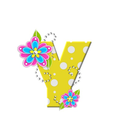 The letter Y, in the alphabet set Bonny Blooms, is yellow with polka dots.  Bright pink and blue flowers decorate letter.  White beads form curling tendrils.