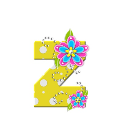 bonny: The letter Z, in the alphabet set Bonny Blooms, is yellow with polka dots.  Bright pink and blue flowers decorate letter.  White beads form curling tendrils. Stock Photo