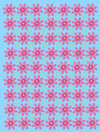 3 Layer, pink daisies, form rows on a light blue background.  Pastel green polka dots fill space between flowers. Stock Photo