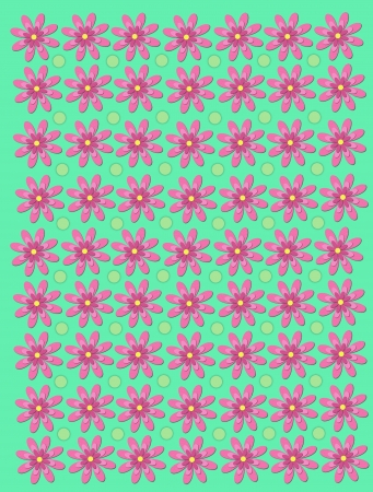 Pastel green background has daisies and polka dots.  Daisy has three layers of soft pink color.