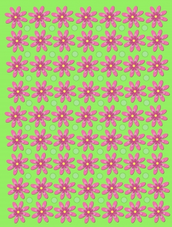 Soft green background is decorated with 3 Layer daisies in pink.  Green polka dots fill space between flowers.