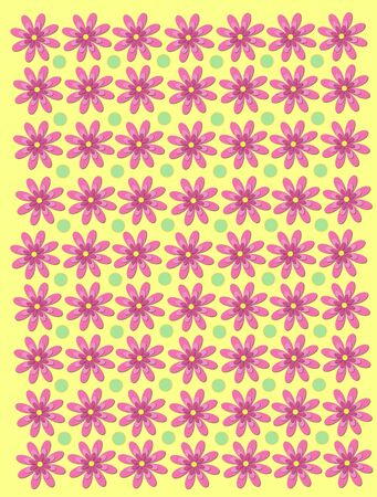 Soft yellow background has 3 Layer daisies and light green polka dots. Stock Photo