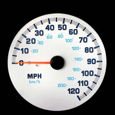 Speedometer registers zero.  White dial with orange needle pointing at the 0.