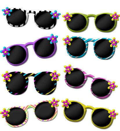 Eight 3D sunglasses are decorated with fun flowers.  Graphic sunglasses are in eight different patterns.