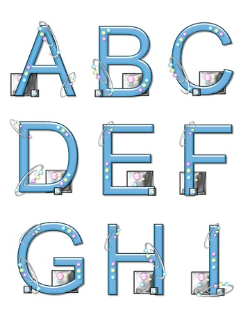 The letters A to I, in the alphabet set 'Mod Elements', is 3D blue.  Metal swirl threaded with colorful beads decorate letter.  Metal squares sit at base of letters. photo