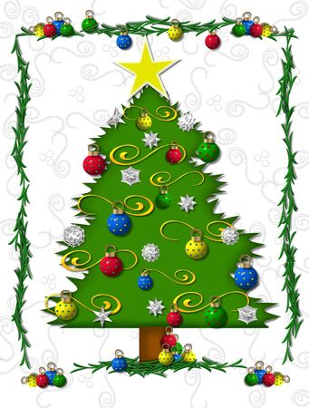 boughs: Christmas tree is adorned with ornaments, tinsel, snowflakes and large yellow star.  Boughs of green frame tree.  Background is white with swirls and polka dots.