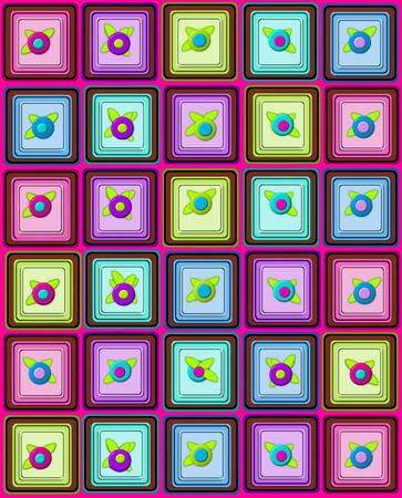 topped: Yummy graphic, chocolate, petit fours, are layered squares topped with 3D flower   Background is pink