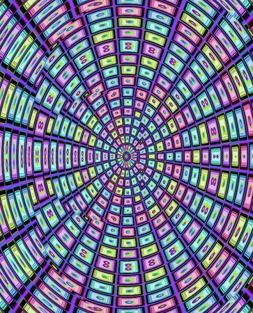 descending: Background has shrinking rows of squares descending into vortex   Each square is decorated with flowers and leaves