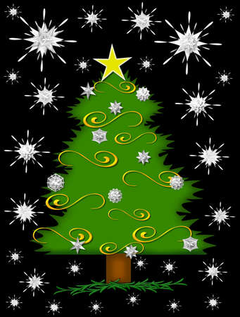 glows: Star glows from Christmas tree top.  Sparkling snowflakes fill the night. Stock Photo