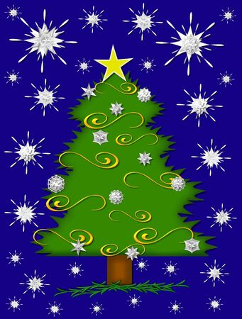 glows: Star glows from Christmas tree top.  Sparkling snowflakes fill blue background as evening comes.