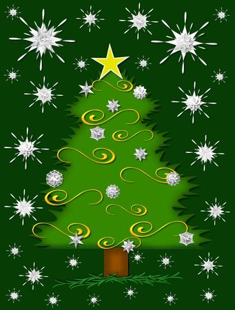 glows: Star glows from Christmas tree top.  Sparkling snowflakes fill darkening green sky as night falls.