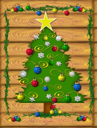 boughs: Log cabin is setting for Christmas decorations.  Tree is adorned with ornaments, tinsel, snowflakes and large star.  Boughs of green frame tree.