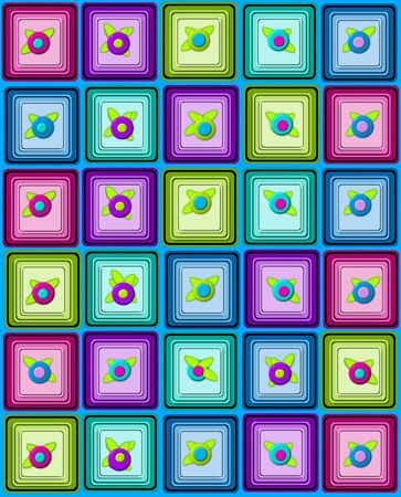 topped: Yummy graphic, petit fours, are layered squares topped with 3D flower.  Background is aqua.