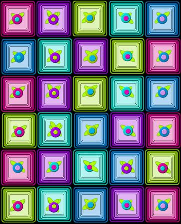 Yummy graphic, petit fours, are layered squares topped with 3D flower.  Background is black. photo