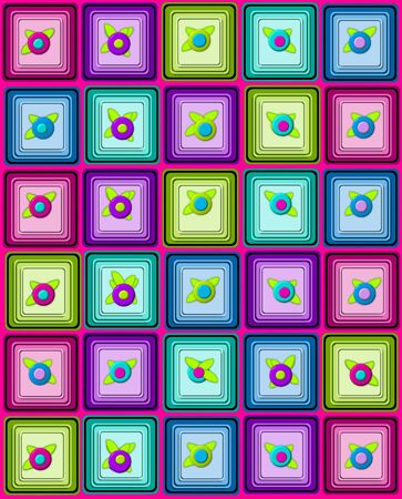 topped: Yummy graphic, petit fours, are layered squares topped with 3D flower.  Background is pink. Stock Photo
