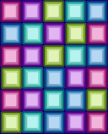 navy blue background: Bright and colorful squares have three layers of color.  Navy blue fills background.