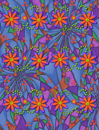 3D daisies in orange and purple top a pyschedelic background of blue, purple, pink, mauve and green.